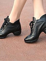 Women's Modern Real Leather Cowhide Heels Practice Black