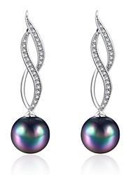 Women's Drop Earrings Cubic Zirconia Imitation Pearl AAA Cubic ZirconiaBasic Unique Design Dangling Style Rhinestone Heart Natural