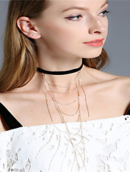 Women's Choker Necklaces Irregular Iron Plush Fabric Tassel Euramerican Fashion Personalized Jewelry ForEvent/Party Casual Outdoor