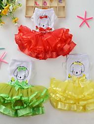 Chien Robe Vêtements pour Chien Anniversaire Décontracté / Quotidien Princesse Jaune Rouge Vert Rose