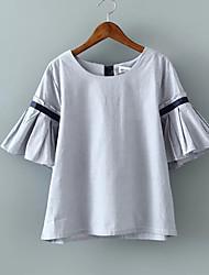 Damen Solide Einfach Alltag Normal T-shirt,Rundhalsausschnitt 3/4 Ärmel Polyester