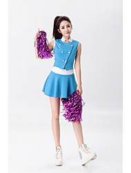 Cheerleader Costumes Outfits Women's Performance Polyester Stretch Satin Buckle Splicing 2 Pieces Sleeveless High Skirts Tops