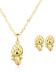 Mulheres Colares com Pendentes Brincos Set Circular Pingente Geométrico Vintage Ajustável Clássico Chapeado DouradoFormato de Flor Forma
