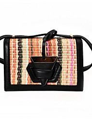 Women Shoulder Bag PU All Seasons Casual Outdoor Rectangle Clasp Lock Black White