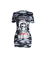 Tee-shirt Femme,Imprimé Soirée Sexy simple Eté Manches Courtes Col Arrondi Spandex Fin