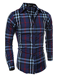 Men's Going out Casual/Daily Work Street chic Spring Fall Shirt,Striped Classic Collar Long Sleeve Polyester Thin