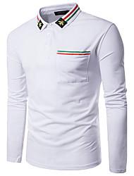 Herren Gestreift Street Schick Lässig/Alltäglich Polo,Hemdkragen Langarm Polyester