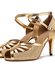Damen Latin Kunstleder Sandalen Absätze Innen Verschlussschnalle Farbaufsatz Maßgefertigter Absatz Gold Schwarz Silber2,5 - 4,5 cm 5 -