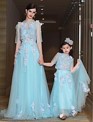 A-ligne robe de cuisse / train à brosse dentelle satin tulle robe de soirée avec perles