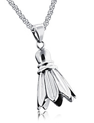 Japan and South Korea personality badminton sports wind fashion fitness titanium steel man necklace Creative accessories