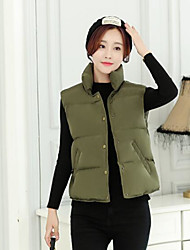 Women's Casual/Daily Simple Winter Vest,Solid Stand Sleeveless Regular Others