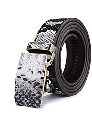 Mens Snake Skin Print Belt Ratchet Automatic Buckle Belts