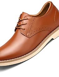 Masculino sapatos Courino Outono Inverno Botas da Moda Solados com Luzes Oxfords Botas Curtas / Ankle Cadarço Para Casual Preto Castanho