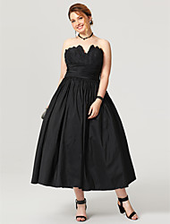 2017 TS Couture Plus Size Formal Evening Dress - Little Black Dress Open Back Ball Gown Notched Tea Length Taffeta with Sash / Ribbon Pleats Ruching