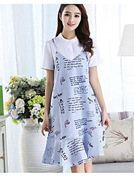 Women's Sports Going out Casual/Daily Vintage Simple Street chic A Line Loose Dress,Solid Print Pattern Strap Above Knee SleevelessCotton