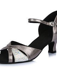 2017 Classic Brand Modern Latin Sandals Customizable Women's Dance Shoes  Heel-Height 5CM shoes Glitter Leather Silver Grey