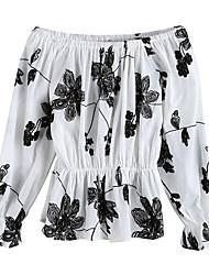Women's Street Vintage Street chic Summer T-shirt,Embroidery Boat Neck Long Sleeve Cotton Medium