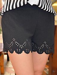 Feminino Simples Moda de Rua Cintura Média Micro-Elástica Shorts Calças,Solto Sólido,Com Corte