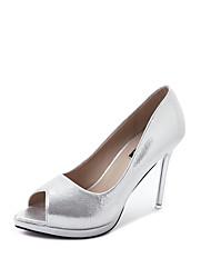 Для женщин Обувь на каблуках Удобная обувь Полиуретан Весна На шпильке Золотой Серебряный Пурпурный Более 12 см