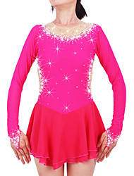 Robe de Patinage Femme Fille Manches Longues Patinage Jupes Robes Haute élasticité Robe de patinage artistique Garder au chaud Fait à la