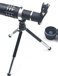 Hd kit de lentes de teléfono 18x zoom teleobjetivo 0.45x gran angular 15x super lente macro para iphones samsung smartphones clip cámara