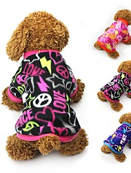Cat Dog Coat Shirt / T-Shirt Sweatshirt Dog Clothes Party Casual/Daily Keep Warm Hearts Black Blue Fuchsia