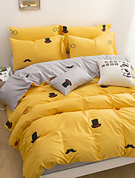 Two Color Patchwork 3 Piece Sets of Bed 100% Cotton Cloth 1pc Duvet Cover 1pc Sham 1pc Flat Sheet For 1.2 Meter Bed