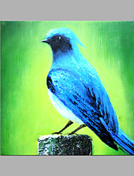 IARTS® Hand Painted Modern Abstract Blue Feather Bird Looking Into The Sky Oil Painting On Canvas with Stretched Frame Wall Art For Home Decoration