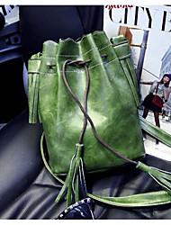 Mulher Bolsa de Ombro Couro Ecológico Todas as Estações Casual Redondo Com Cordão Verde Vermelho Marron