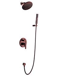 На стену Керамический клапан Одной ручкой четыре отверстия for  Начищенная бронза , Смеситель для душа