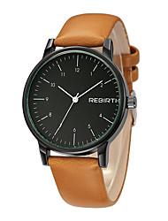 REBIRTH Dámské Módní hodinky čínština Křemenný PU Kapela Černá Orange Hnědá