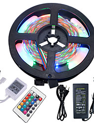 HKV® 5M NO-Waterproof 3528 300LED RGB Strip Flexible Light 24Key IR Remote Controller 5A Power Supply AC 100-240V