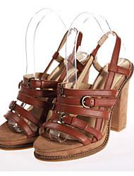 Damen High Heels Pumps Leder Sommer Normal Pumps Blockabsatz Braun 10 - 12 cm