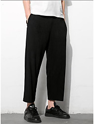 Men's Mid Rise High Elasticity Culotte Pants,Simple Straight Solid