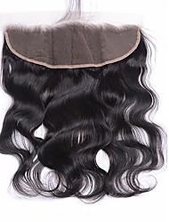 Бразильские виргинские волосы волна тела 13x4 кружевное лобовое закрытие 12-20 дюймов свободная часть отбеленные узлы детские волосы