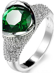Ring Settings Ring Band Rings Women's Luxury Noble Green Rhinestone Zircon Geometric Movie Jewelry