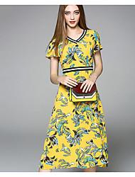 Women's Casual/Daily A Line Dress,Floral V Neck Midi Short Sleeve Silk Summer Mid Rise Micro-elastic Medium