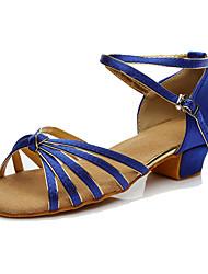 Women's Latin Silk Sneakers Performance Low Heel Blue Customizable