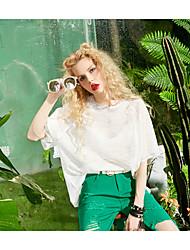 Damen Solide Einfach Alltag Normal T-shirt,Rundhalsausschnitt Halbe Ärmel Polyester Viskose