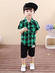 Boy's Fashion And LovelyHaroun Pants Cartoon Grid With Short Sleeves Shirt Two-Piece Dress