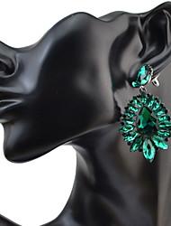 Women's Drop Earrings RhinestoneBasic Circular Unique Design Dangling Style Pendant Rhinestones Circle Friendship Oversized