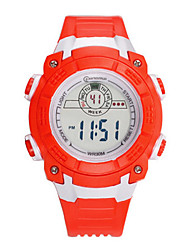Kid's Sport Watch Digital Watch Digital Water Resistant / Water Proof Noctilucent Rubber Band Red Orange Rose