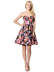 Cocktail Party Prom Dress Princess Strapless Short/Mini Satin Chiffon with Pattern / Print