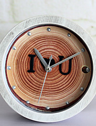 Wooden Alarm Clock Retro Rustic Theme Wall ClockRound Novelty Faux Wood Indoor Clock