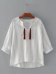 Damen Gestreift Einfach Alltag Normal T-shirt,V-Ausschnitt 3/4 Ärmel Polyester