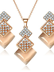 Fashion Elegant Geometric Jewelry Set For Women Opal Square Long Necklace Pendant Crystal Earrings Wedding Beads Gift Bridal Jewelry Sets Accessories