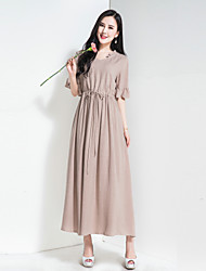 Dámské Vintage Jednoduché Dovolená Jdeme ven Běžné/Denní Volné Swing Šaty Jednobarevné,Poloviční rukáv Do V Maxi Bavlna PolyesterJaro