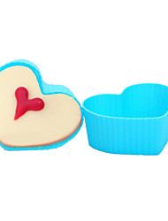 12Pcs/lot Mixed color Love Heart Shape Silicone Forms Muffin Cake Cups Cupcake Baking Mold