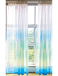 140cm*250cm One Panel Made Ready Finished Blue Transparent Flower Retro Voile Window Curtain Panel Tulle Sheer Curtains for Living Room