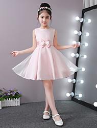 Princess Short/Mini Flower Girl Dress - Stick-Satin Lace Jewel with Bowknot Satin Flower